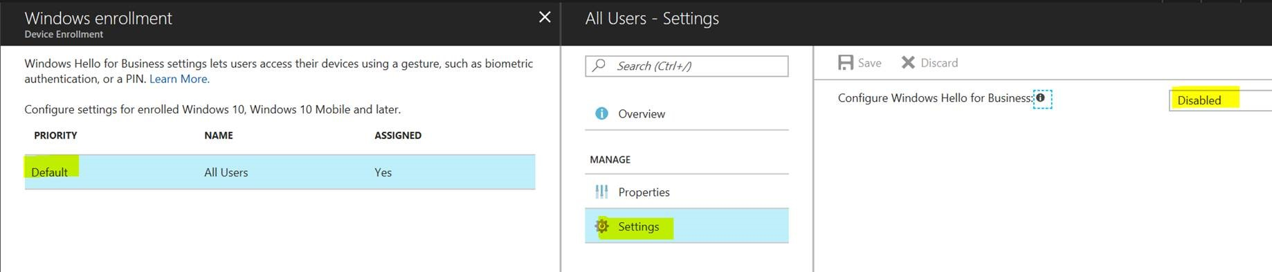Azure AD - Intune - Windows Hello for Business - Workplace