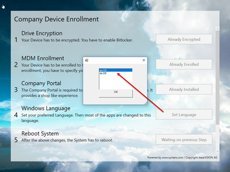 Allow changing Windows Language during device Enrollment - Workplace